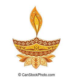 Diwali Diya - easy to edit vector illustration of Diwali...
