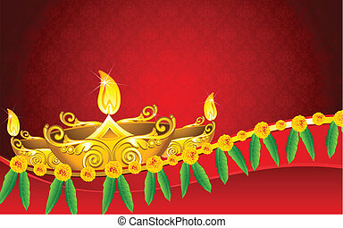 Diwali Diya - illustration of decorated golden diya for ...