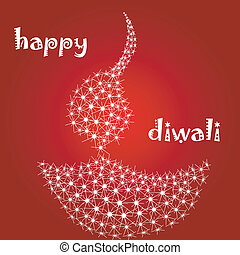 diwali diya - illustration of diwali card with diya