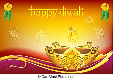 Diwali Diya - illustration of burning diwali diya on floral...