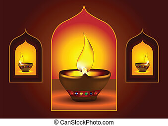 Diwali diya on a window arch - Diwali Diya - Oil lamp for...