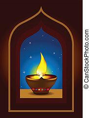 Diwali diya on a window arch