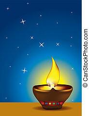 Diwali Diya with blue sky - Diwali Diya - Oil lamp for...