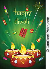 illustration of decorated diwali diya with fire cracker