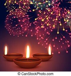 diwali diya with fireworks background illustration