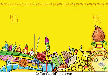 Diwali Doodle - illustration of Diwali doodle with different...