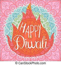 diwali, feliz, bandeira, celebração