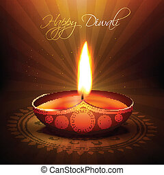 beautiful diwali diya vector backgorund