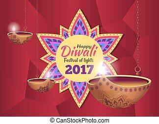Diwali Festival of Lights on Vector Illustration - Diwali...