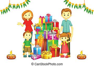 diwali, gezin, cadeau