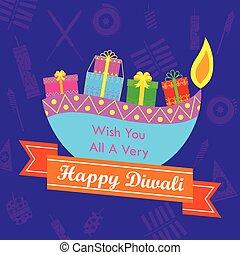 Diwali Gift with colorful diya