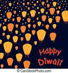 diwali, glade, baggrund, fest