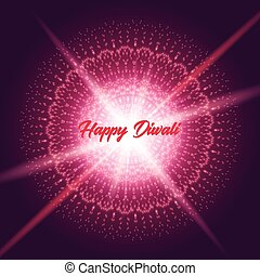 Diwali greeting card with shine rangoli