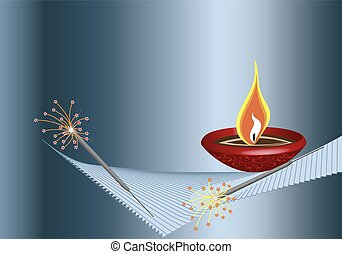 Diwali Greeting Fire Works Vector Art
