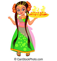 Diwali Hindu holiday of light and woman with flame. Mother...