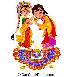 Diwali holiday and Bhai Dooj day religious rite. Sister...
