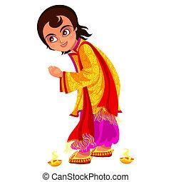 Diwali holiday and boy ready for Bhai Dooj rite. Guy waiting...