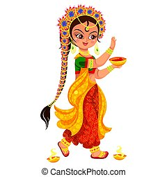 Diwali holiday and girl with bowl of paint