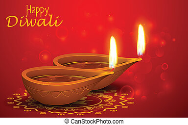 Diwali Holiday background - illustration of burning diya on...