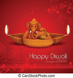 Diwali Holiday background - illustration of Ganesha with...