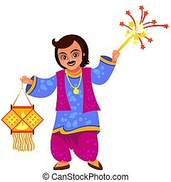Diwali holiday celebration and man with lantern or...