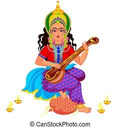 Diwali holiday goddess Saraswati with veena - Diwali holiday...