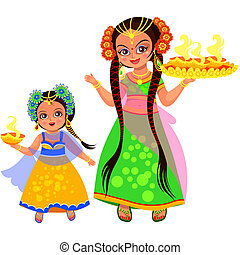 Diwali holiday of light and mother with daughter carrying...