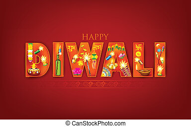 Diwali - illustration of Diwali background with puja object