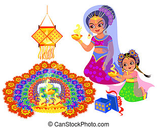 Diwali Indian holiday and mother with daughter creating...