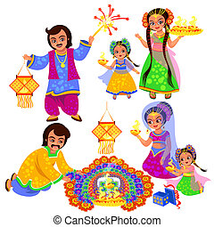 Diwali Indian holiday clebration with families - Diwali...