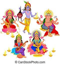 Diwali Indian holiday gods and goddess set. Lakshmi and Narak Chaturdashi Ganesha Hinduism idols. Religious holy symbols of India vector illustrations isolated
