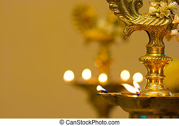 diwali, lâmpada óleo, durante, festival, período