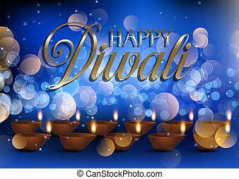 Diwali lamp background with bokeh lights