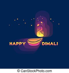 Diwali lamp bright colorful sign isolated on dark.