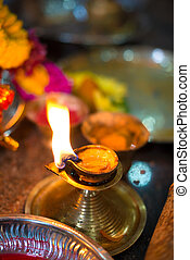 Diwali lamp with indian festival setup