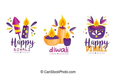 Diwali Logo Design Set, Indian Festival of Lord Ganapati Labels Vector Illustration on White Background.