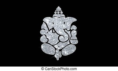 Diwali Lord Ganesh Element Blinking Icon Particles...
