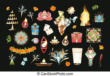 Diwali objects vector set in cartoon style