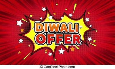 Diwali Offer Text Pop Art Style Comic Expression. - Diwali...