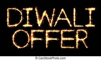 Diwali Offer Text Sparkler Glitter Sparks Firework Loop...
