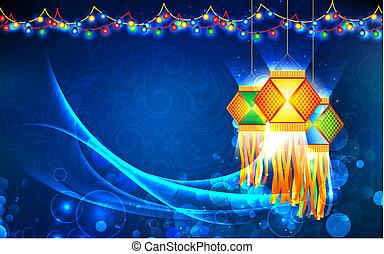diwali, pendre, lanterne
