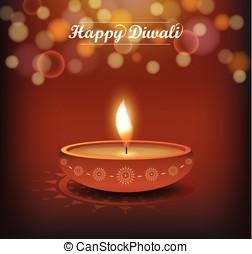 Diwali poster on bokeh background. Festival of lights....