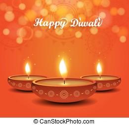 Diwali poster on orange background with burning diya....