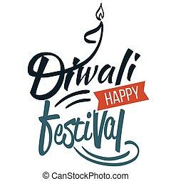 Diwali religious Hindu holiday emblem with candle - Diwali...