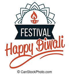 Diwali religious Hindu holiday emblem with lotus - Diwali...