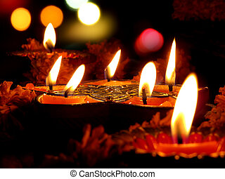 Diwali Ritual Lamps - Beautiful lamps surrounded with...