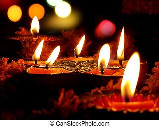 diwali, rituel, lampes