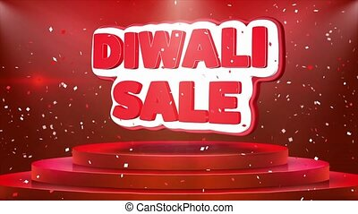 Diwali Sale Text Animation Stage Podium Confetti Loop...