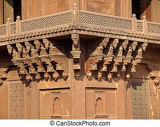 diwan-i-khas, fatehpur, piaskowiec, sikri, rzeźba