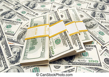 dix, argent, mille, dollar, fond, piles